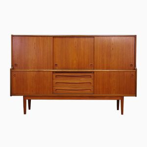 Vintage Danish Teak Veneer Highboard by Johannes Andersen