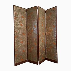 Handcrafted Leather Screen Room Devider with Flowers, 1950s