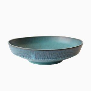 Große Runde Skandinavische Schale in Blau-Grün von Gunnar Nylund für Nymölle, 1960er