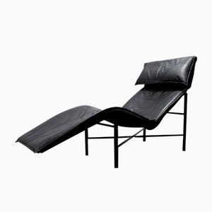 Black Leather Skye Chaise Longue by Tord Björklund for Ikea, 1980s