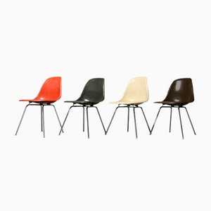 Vintage Fiberglass Side Chairs by Charles & Ray Eames for Vitra, 1980, Set of 4