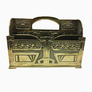 English Art Nouveau Brass Desk Letter Rack, 1900s