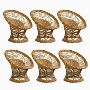 Vintage Wicker Basket Swivel Chairs, Set of 6