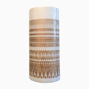 Ovale Vintage Vase in Weiß & Gold aus Studio Serie von Hans Theo Baumann für Rosenthal, 1970er