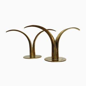 Vintage Scandinavian Brass Model Lily Candle Holders by Ivar Ålenius-Björk for Ystad Metall, Set of 2