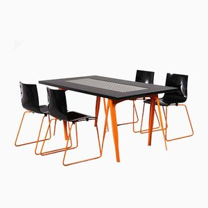 Industrial Dining Table & 4 Chairs from Tolix, 1980s