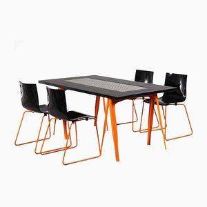 Industrieller Esstisch & 4 Stühle von Tolix, 1980er