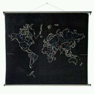 Grande Carte du Monde et d'Europe Réversible Vintage