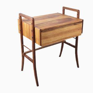 Mid-Century Small Walnut Desk with Adjustable Legs