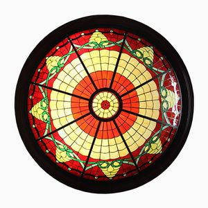 Large Stained-Glass Ceiling Light, 1980s