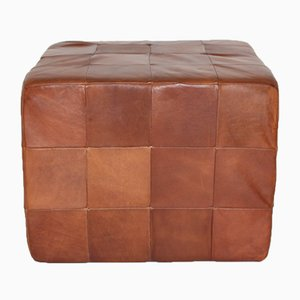 Cognac Patchwork Leather Cubus Stool from De Sede, 1970s