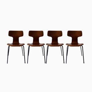 Marteau Teak Veneer Chairs by Arne Jacobsen for Fritz Hansen, 1960s, Set of 4