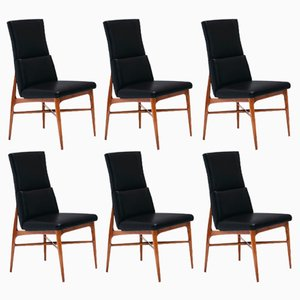 Up 636 Madison Walnut Dining Chairs by Fred Sandra for De Coene, 1962, Set of 6