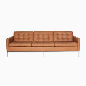 Mid-Century 3-Sitzer Leder Sofa von Florence Knoll Bassett für Knoll International