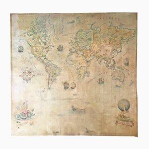 Große Vintage Weltkarte in Öl auf Leinwand