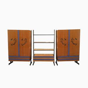 Wohnzimmer Set mit 2 Schränken und 1 Regalsystem von Stenio Villani , 1960er