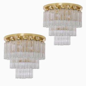 Lampadari in ottone di Glashütte Limburg, anni '60, set di 2