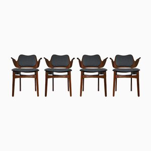 Mid-Century Shell Dining Chairs by Hans Olsen for Bramin, Set of 4