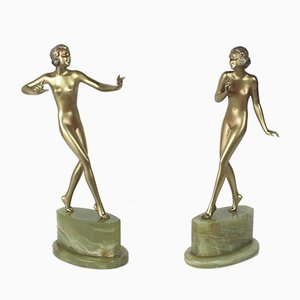 Art Deco Bronze & Onyx Sculptures by Josef Lorenzl, 1930s, Set of 2