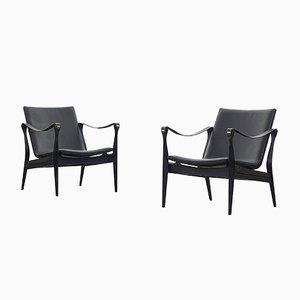 Vintage Safari Lounge Chair by Ebbe and Karen Clemmensen for Fritz Hansen, Set of 2