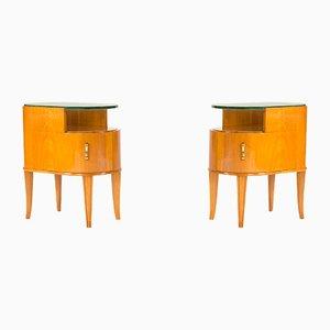 Tables d'Appoint Vintage en Acajou et Verre par Axel Larsson pour Bodafors, Set de 2