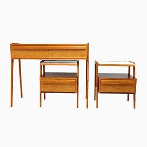 Set de Chambre Mid-Century avec Table Console et Deux Tables de Chevet de Jitona, 1960s