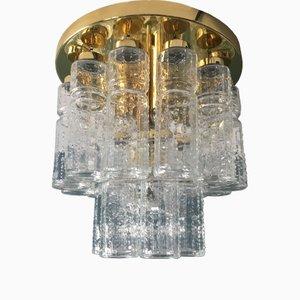 Two-Tier Glass & Brass Ceiling Lamp from Glashütte Limburg, 1960s