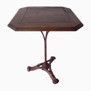 Tavolo da bistrò antico in ferro e quercia