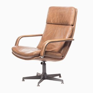 Vintage F141 Leather Lounge Chair by Geoffrey Harcourt for Artifort