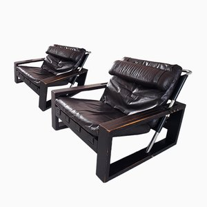 Brutalist Oak and Leather Lounge Chairs by Sonja Wasseur, 1970s, Set of 2