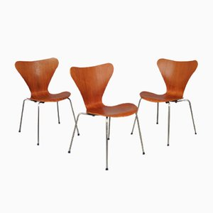 7 Series Chairs by Arne Jacobsen for Fritz Hansen, 1960s, Set of 3