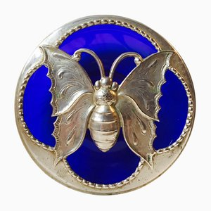 French Art Deco Blue Glass Butterfly Potpourri Bowl, 1920s