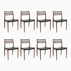 Mid-Century Modern 78 Rosewood Chairs by Niels O. Møller for J.L. Møllers, 1960s, Set of 8