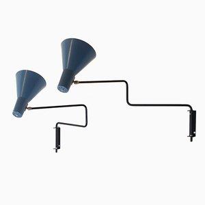 Vintage Paperclip Elbow Wandlampen von J. J. M. Hoogervorst für Anvia, 2er Set