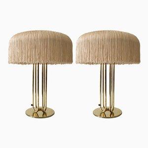 Große Mid-Century Messing Tischlampen, 2er Set