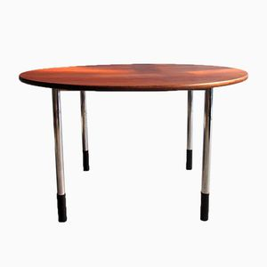 Vintage Round Adjustable Teak Working Table