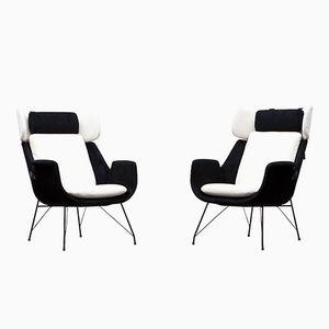 Sessel in Schwarz & Weiß von Augusto Bozzi für Saporiti, 2er Set