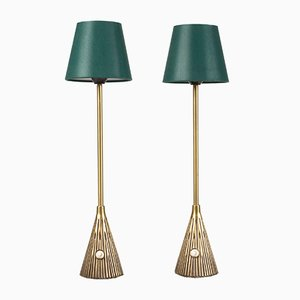 Mid-Century Brass Table Lamps by Sonja Katzin for Asea, Set of 2