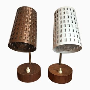 Small Table Lamps with Perforated Lampshade and Teak Foot, 1950s, Set of 2