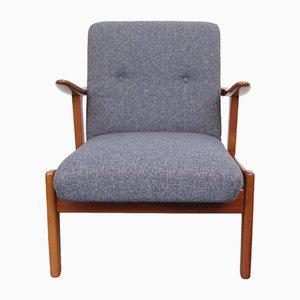 Vintage Teak Lounge Chair in Blue Grey, 1950s