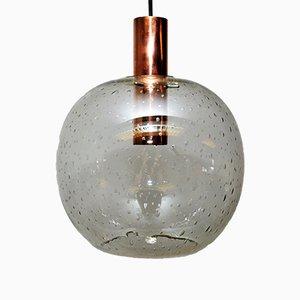 Suspension Dôme Vintage en Verre sur Cylindre en Cuir