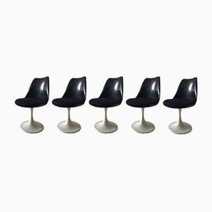 Schwarze Tulip Stühle von Eero Saarinen für Pastoe, 1960er, 5er Set