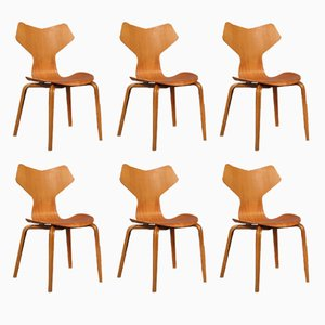 Teak Grand Prix Dining Chairs with Wooden Curved Legs by Arne Jacobsen for Fritz Hansen, Set of 6