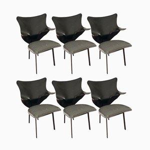 Re Chairs aus Grünem Geflecht & Schwarzem Kuhleder von Paolo Deganello für Zanotta, 1990er, 6er Set