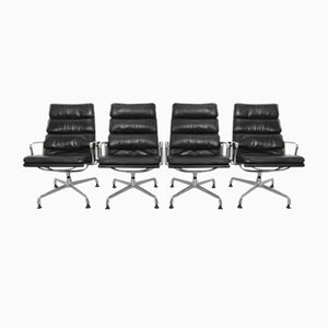 Vintage EA 216 Soft Pad Easy Chairs by Charles Eames for Herman Miller, Set of 4