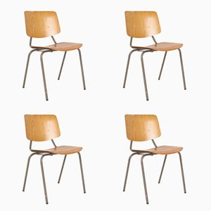 Vintage School Chairs by Kho Liang Ie & Wim Crouwel for Car Katwijk, Set of 4