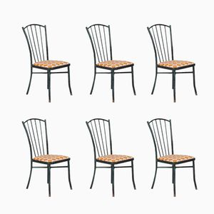 Vintage Green Metal Chairs, Set of 6