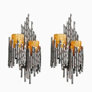 Brutalist Iron Wall Lamps with Orange Glass Shades by Marcello Fantoni, Set of 2