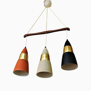 Vintage Ceiling Lamp with Three Cone Shaped Shades, 1970s