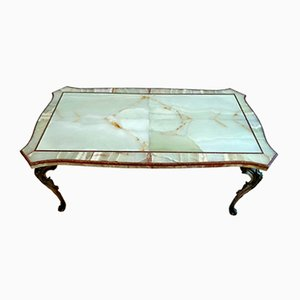 Italian Onyx and Porphyry Coffee Table with Bronze Cast Base, 1950s